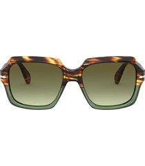 persol persol po0581s brown tortoise & opal green sunglasses