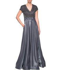 women's la femme two-tone satin a-line gown, size 4 - grey