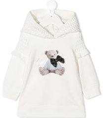 lapin house teddy bear sweatshirt dress - white