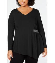 belldini black label plus size embellished asymmetrical-hem tunic