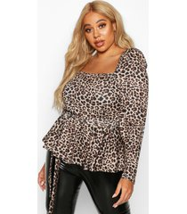 plus bardot self belt leopard print peplum top, brown
