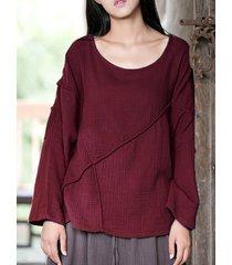 camicette da donna a maniche lunghe allentate patchwork o-collo in puro colore casual