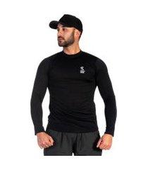 camiseta masculina microfibra respirável conforto casual preto