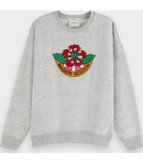 scotch & soda grijs gemêleerde sweater met artwork