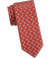 elephant & mouse-print silk tie