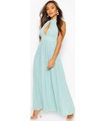 petite occasion pleated panel detail maxi dress, sage