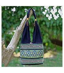cotton blend shoulder bag, 'spring green thai' (thailand)