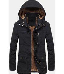 plus giacca antivento calda multitasche da uomo