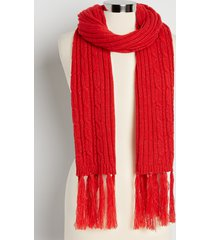 maurices womens red cable knit tinsel oblong scarf