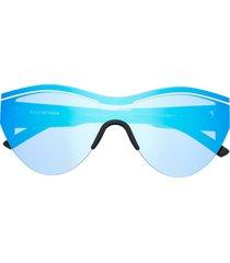 balenciaga eyewear reflective round-frame sunglasses - blue