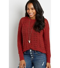 maurices womens wavestitch pullover sweater red