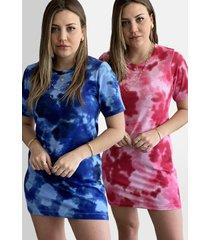 kit 2 vestidos tie dye camisã£o azul/rosa - azul - feminino - algodã£o - dafiti