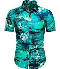 hawaii palm tree landscape print beach shirt