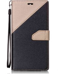 two tone splicing leather wallet stand mobile cover with hand strap for huawei m