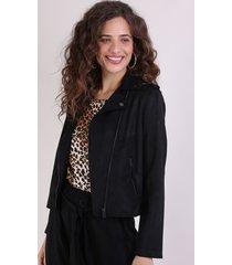 jaqueta de suede feminina perfecto preta
