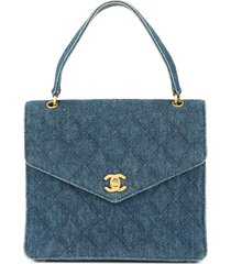 chanel pre-owned 1997-1999 denim cc handbag - blue
