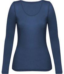 enna, biologisch zijden shirt met lange mouwen, nachtblauw 36/38