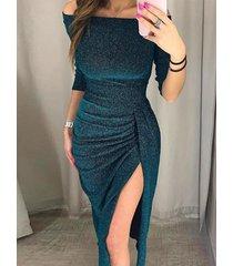 azul fuera del hombro medias mangas fruncido brilho vestido