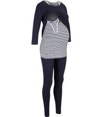 top, maglia,  leggings prémaman in cotone biologico (set 3 pezzi) (blu) - bpc bonprix collection