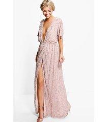 boutique sequin plunge maxi bridesmaid dress, rose
