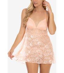 linea donatella lace babydoll & thong lingerie set