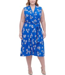 tommy hilfiger plus size floral-print surplice fit & flare dress