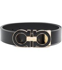 salvatore ferragamo adjustable gancini buckle belt - black