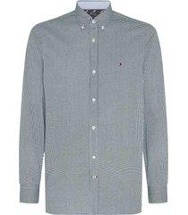 tommy hilfiger overhemd donkergroen slim fit mw0mw15008/0h7