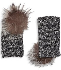 fox fur pom-pom cashmere arm warmers