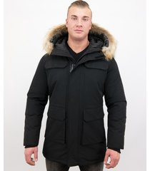 enos parka winterjas met grote echte bontkraag