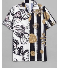 snowflake and butterfly print beach shirt