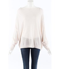 dusan beige cashmere silk relaxed sweater beige sz: one size