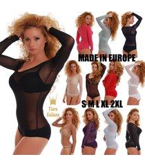ladies mesh bodysuit long sleeve scoop round neck bikini 380 leotard body women