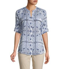 button-front printed roll-tab top