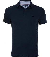 polera polo core m stretch slim fit tommy azul tommy hilfiger