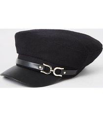 river island womens black snaffle baker boy hat