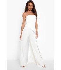 gedrapeerde bandeau jumpsuit met wijde pijpen, white