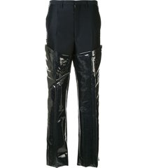toga patent panelled trousers - blue