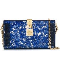 dolce & gabbana lace clutch bag - blue