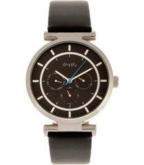simplify quartz the 4800 black dial, genuine black leather watch 44mm