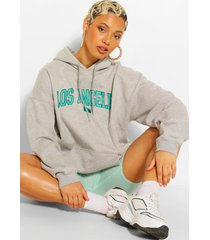 extreme oversized los angeles hoodie met tekst, grijs gemêleerd