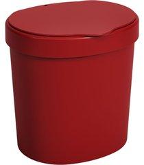 lixeira com tampa coza vermelho bold