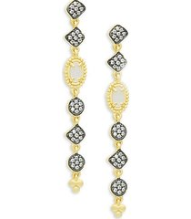 14k goldplated sterling silver, black rhodium-plated, mother-of-pearl & crystal drop earrings