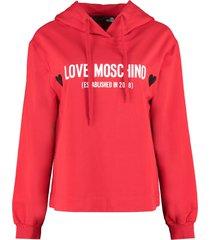 love moschino logo cotton hoodie