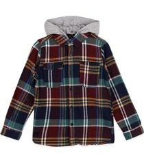 camisa escocesa gorro desmontable burdeo pillin