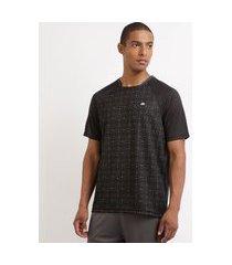 camiseta masculina esporte ace futebol estampada manga curta raglan gola careca preta