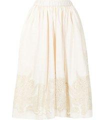 biyan silk-blend broderie anglaise skirt - white