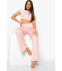petite crop top en wide leg broek pyjama set, blush