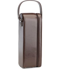 suede-lined leather wine carrying case