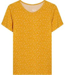 camiseta estampado mini print flores color amarillo, talla l